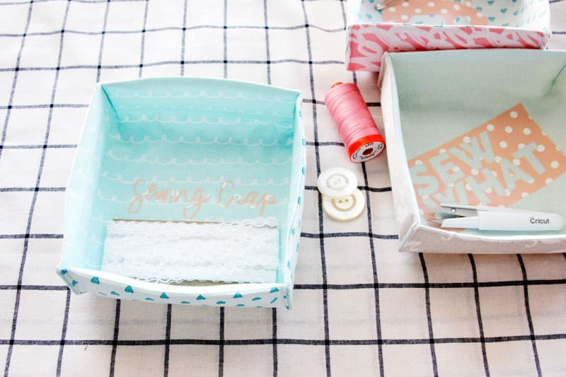 DIY Fabric Boxes | Fabric Boxes | DIY Shallow Boxes | Sewing Room Organization | Free PDF Download | Sewing Tutorials | Free Sewing Pattern || See Kate Sew #fabricboxes #freepattern #seekatesew