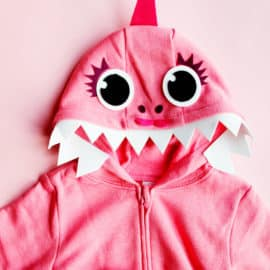 Pink Baby Shark Costume No Sew