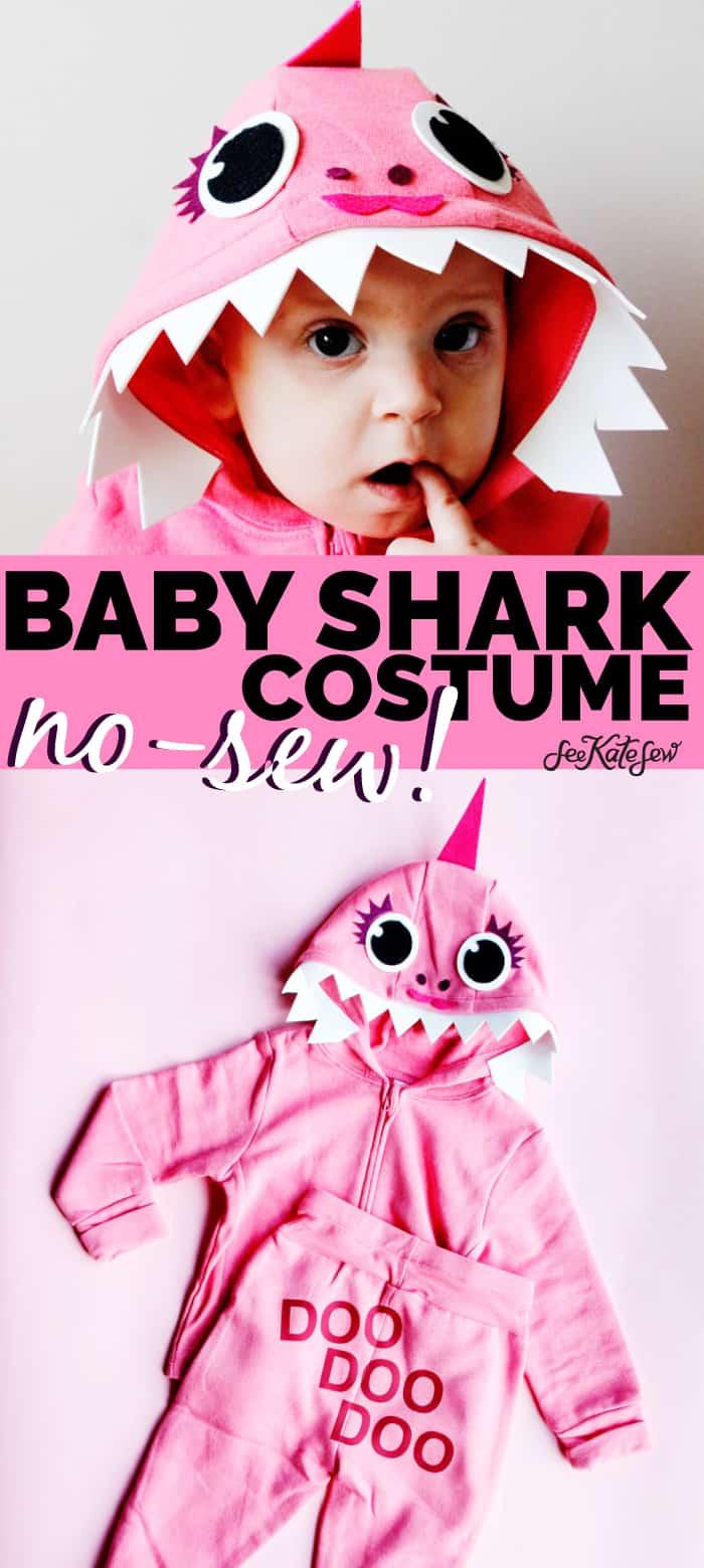Pink Baby Shark Costume No Sew