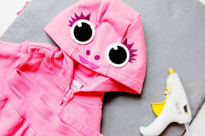 Pink DIY baby shark costume with a hoodie