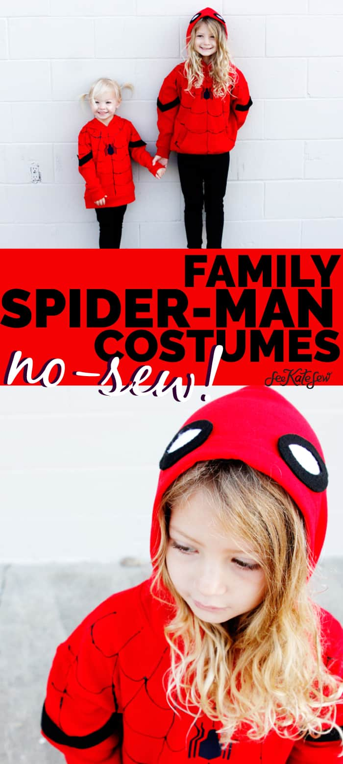 Spider-Man is a great easy costume to make for Halloween! Easy to make using red hoodies and black leggings, these costumes are quick and kid-friendly. || See Kate Sew #diyhalloween #diycostumes #spidermancostumes #spiderman #seekatesew