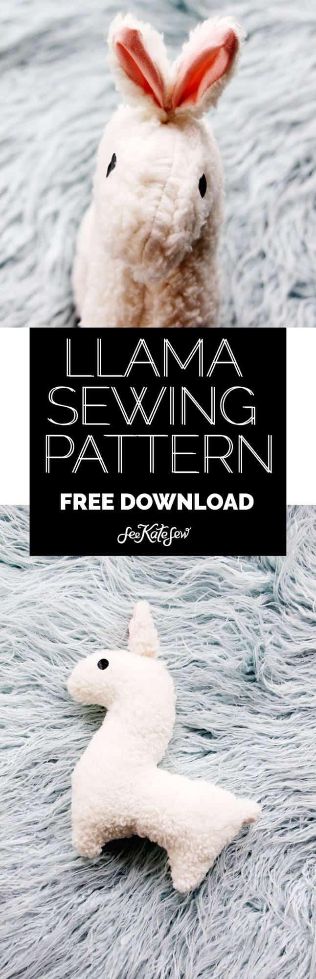 FREE stuffed llama sewing pattern