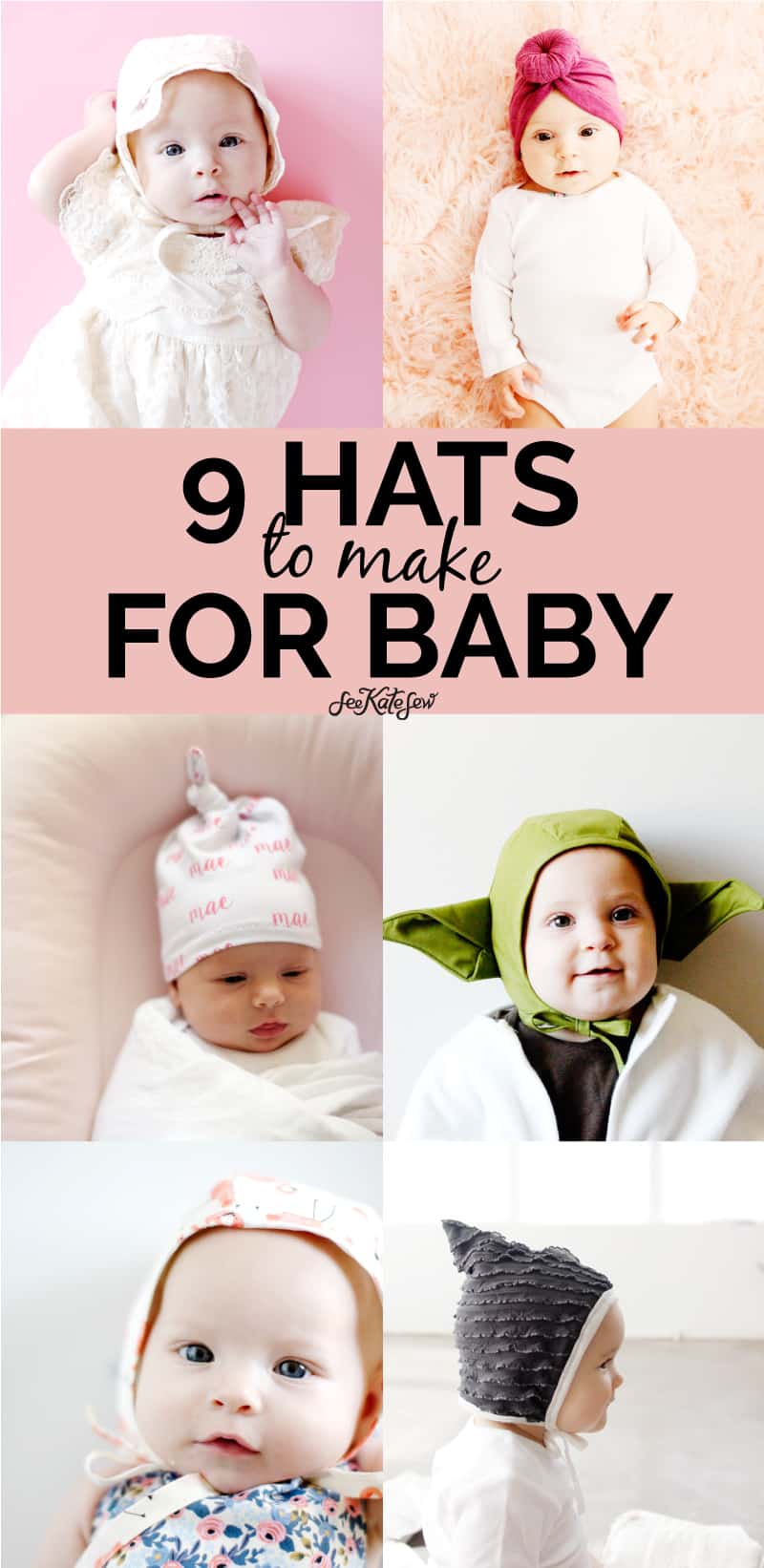 9 baby hats to make | Cute hats to sew for baby