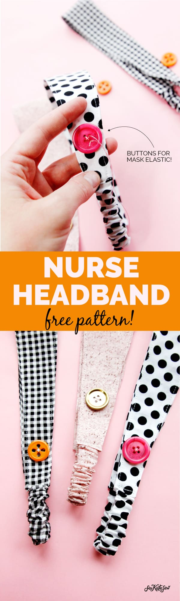 Headband for Nurses | Button Headband | Sewing Pattern FREE