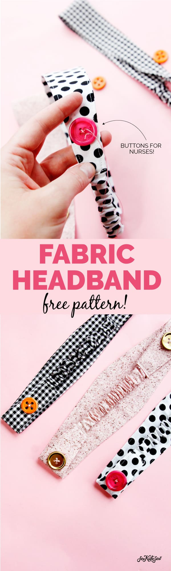 Fabric Headband | Add a button for nurses | Fabric Headband