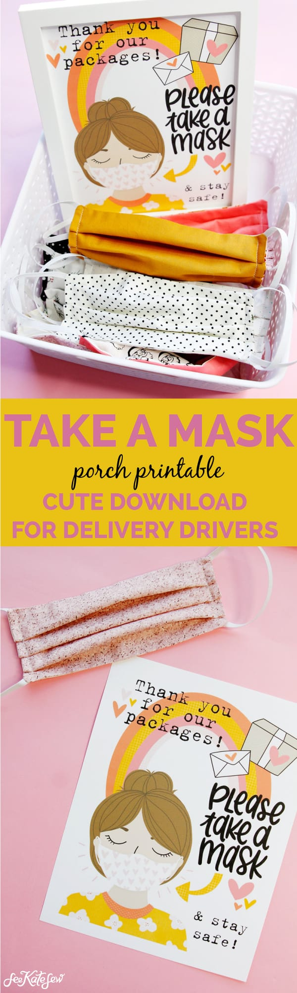 Free Printable - Take a Mask - For USPS, UPS, FEDEX and Amazon delivery drivers