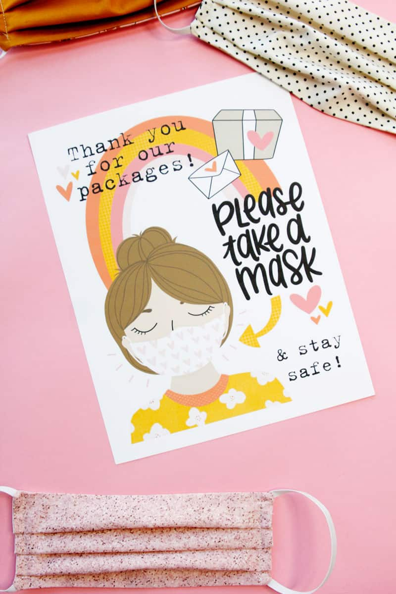 Thank you for Delivering our Packages - Take a Mask Printable