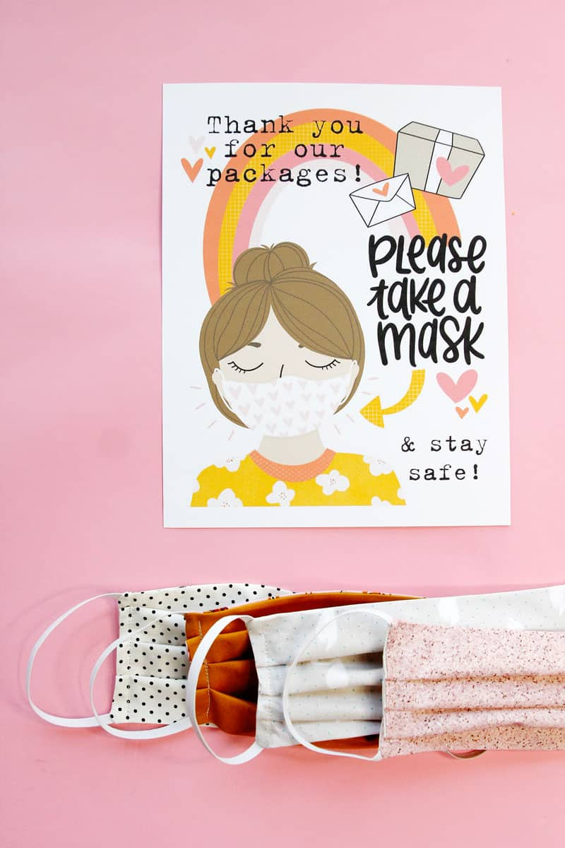 Free Take a Mask Printable | Download and Sew some Masks!