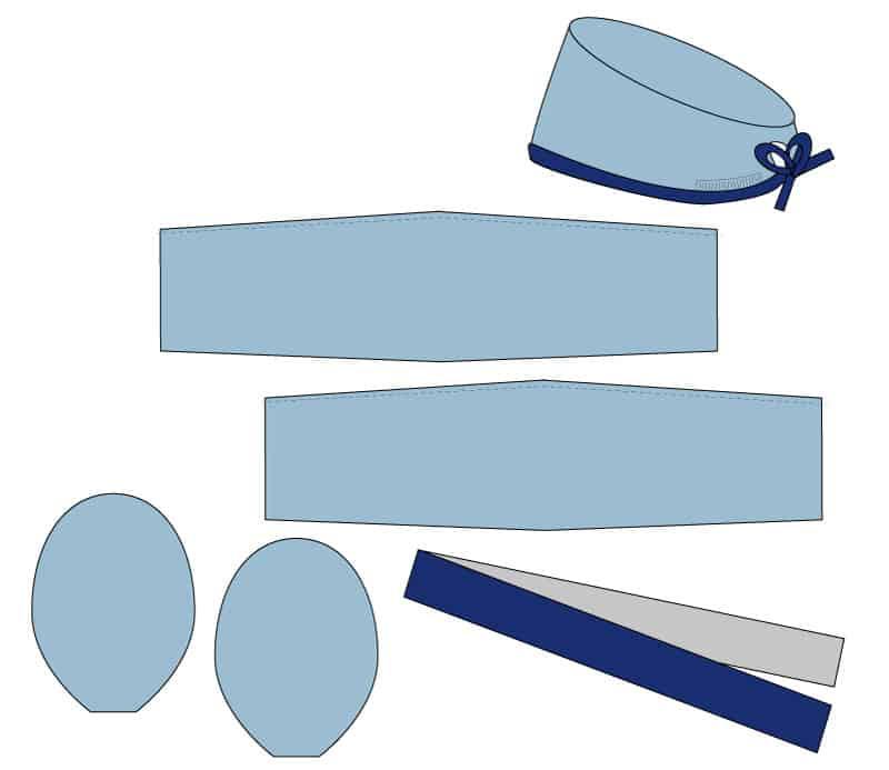 Surgical Cap Sewing Pattern | Scrub Hat Pattern Download