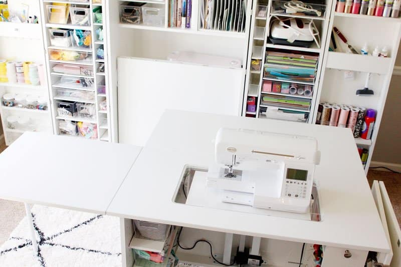 Sewing Table with Recessed Machine Shelf