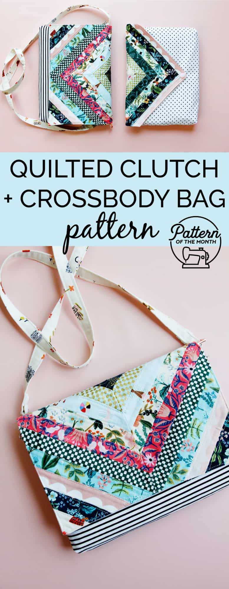 Quilted Clutch and Crossbody Bag Pattern | Pattern of the Month
