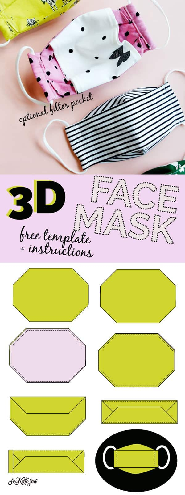 Make a 3D MASK | Mask sewing template
