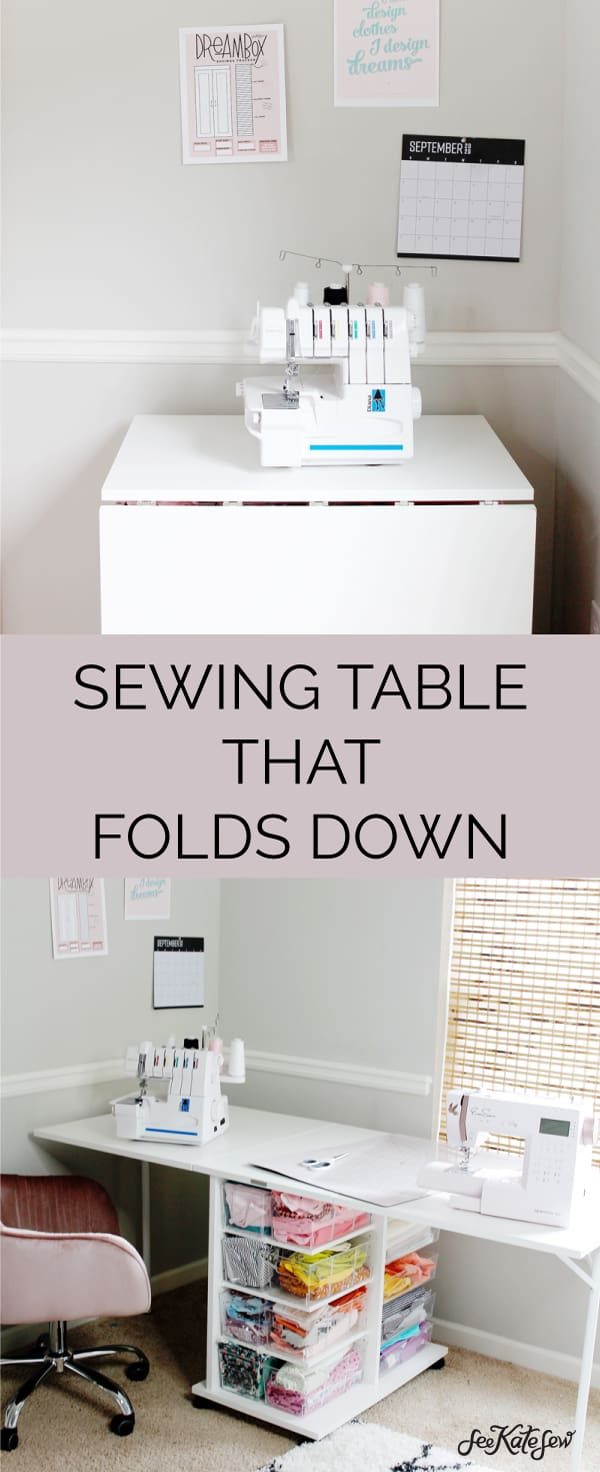 A sewing table that folds down for small spaces