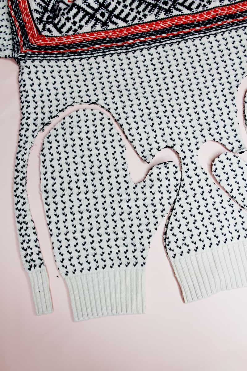 DIY Upcycled Sweater Mittens