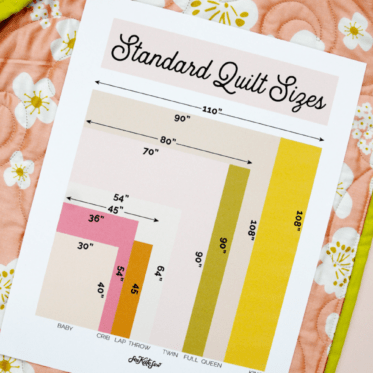 Quilt Sizes Measurements in inches