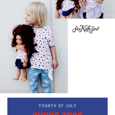 """4th of July Swing Tops - Sew matching knit tops with 18"""" version"""