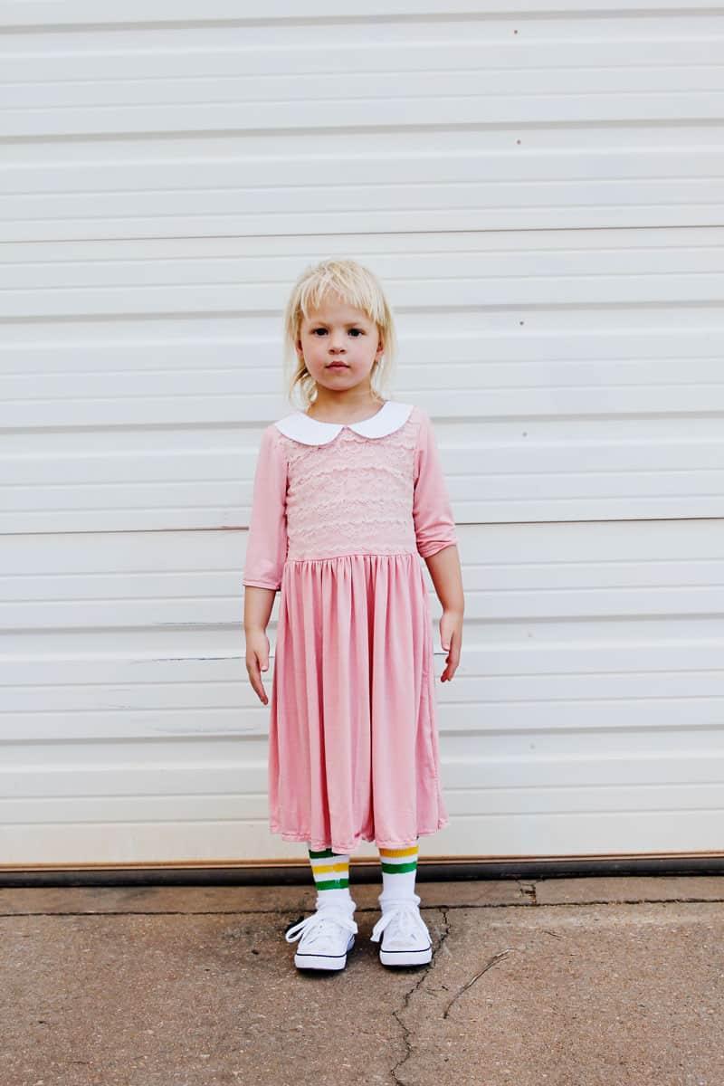 Eleven Costume DIY | Handmade Pink Collar Dress